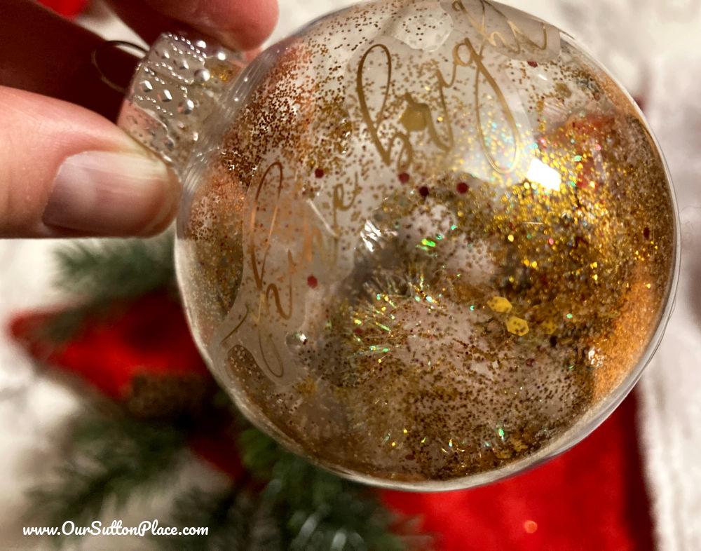closeup of the sparkly Shine Bright ornament