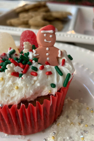 Gingerbread House Cupcakes on plate
