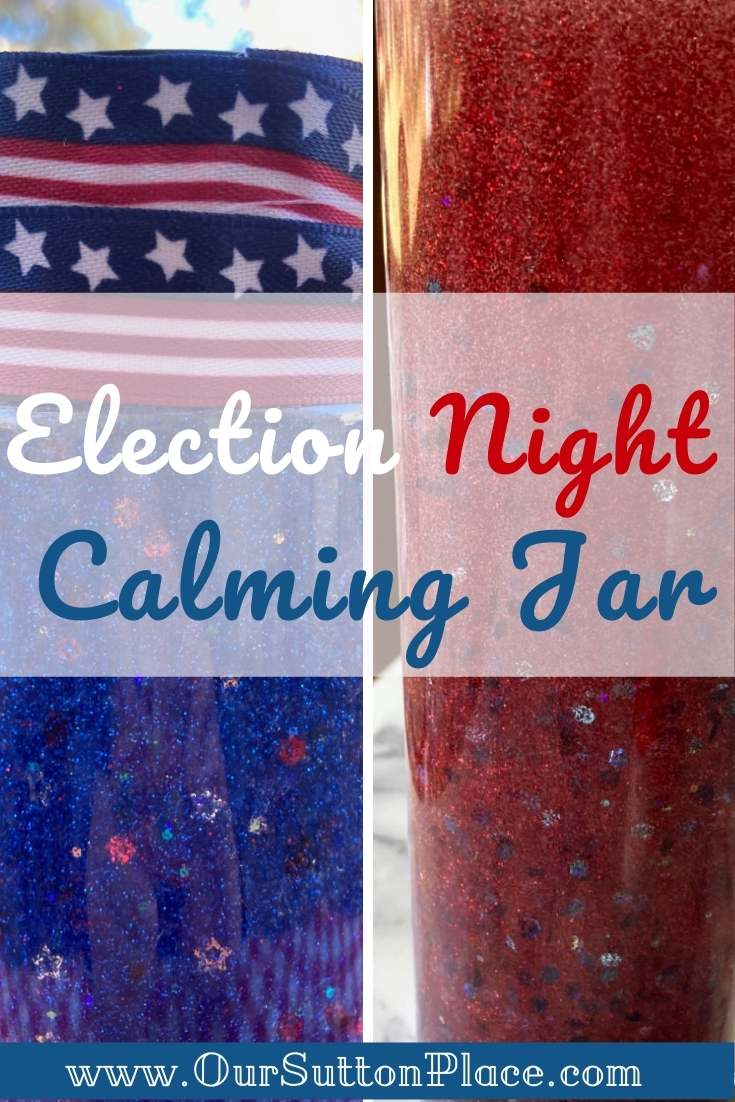 Title Card with a red and blue election night calming jar