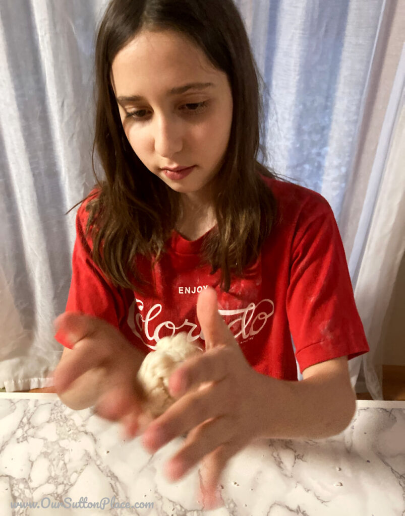 playing with the snowball playdough