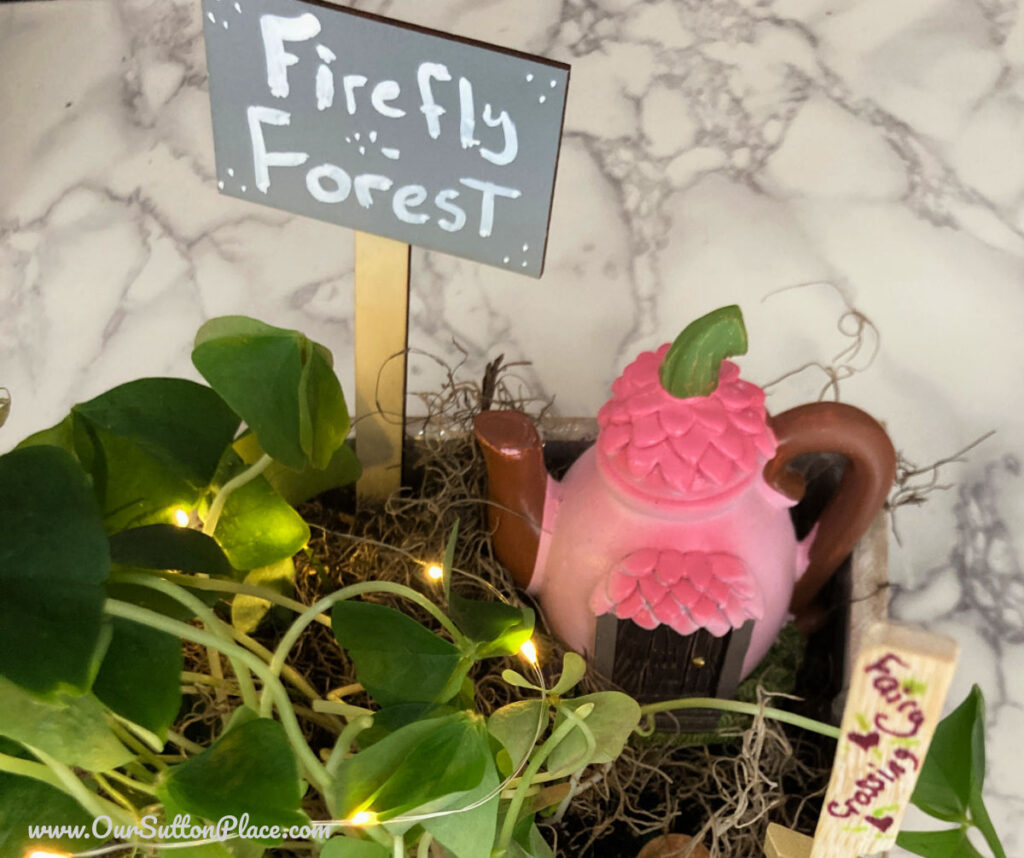 Closeup of a Fairy Garden Sign that says Firefly Forest