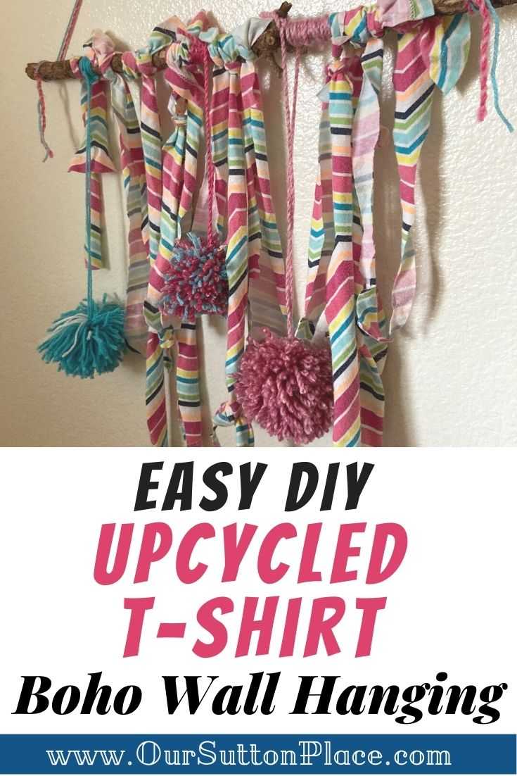 title card for easy DIY upcycled tshirt wall hanging
