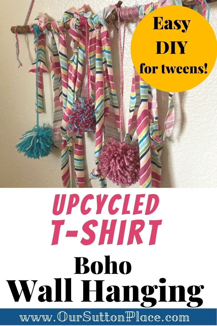 upcycled striped tshirt wallhanging with pom poms