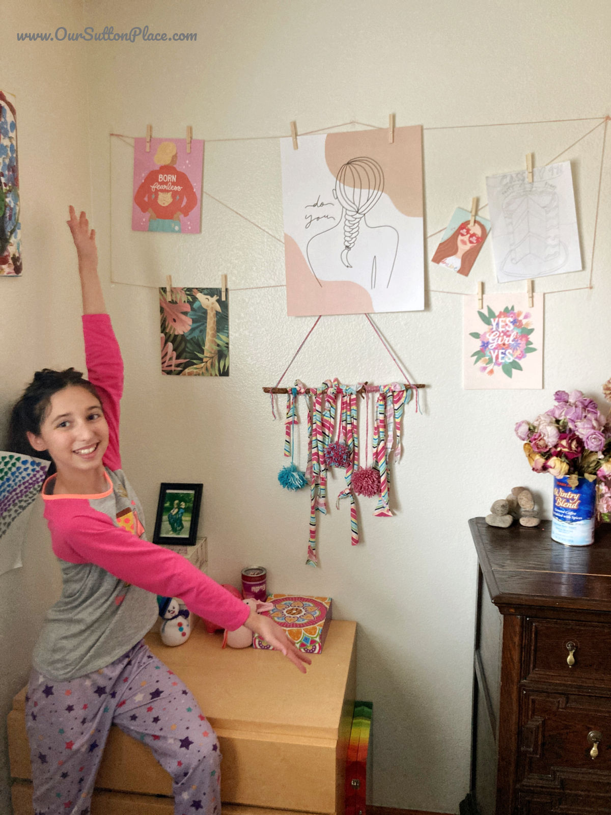 tween happy with her boho upcycled wall hanging