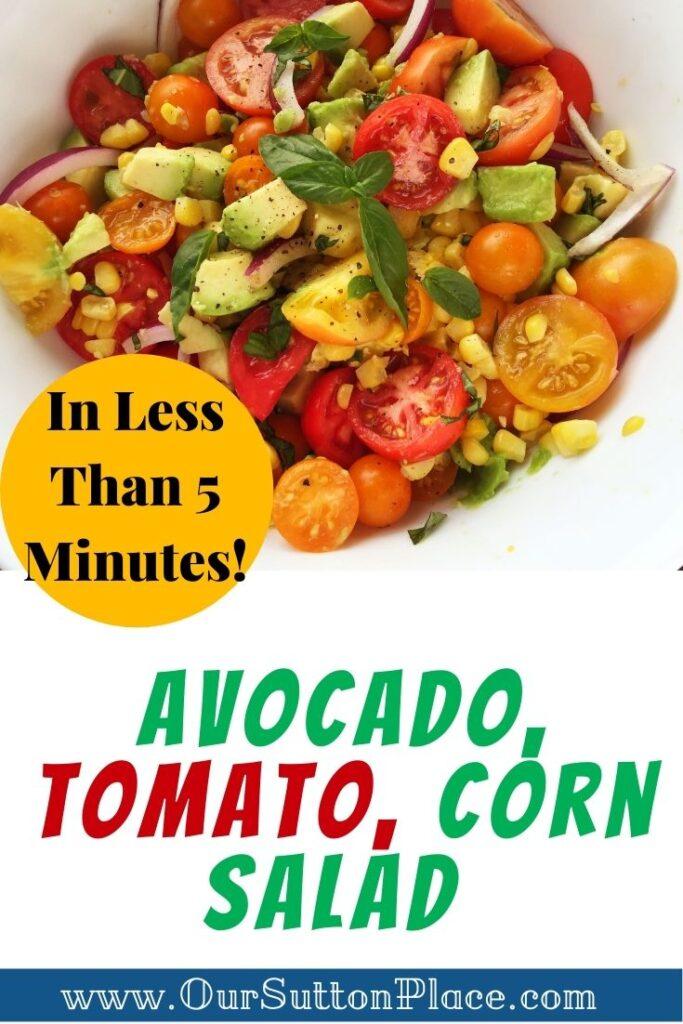 title card for avocado, tomato, corn salad