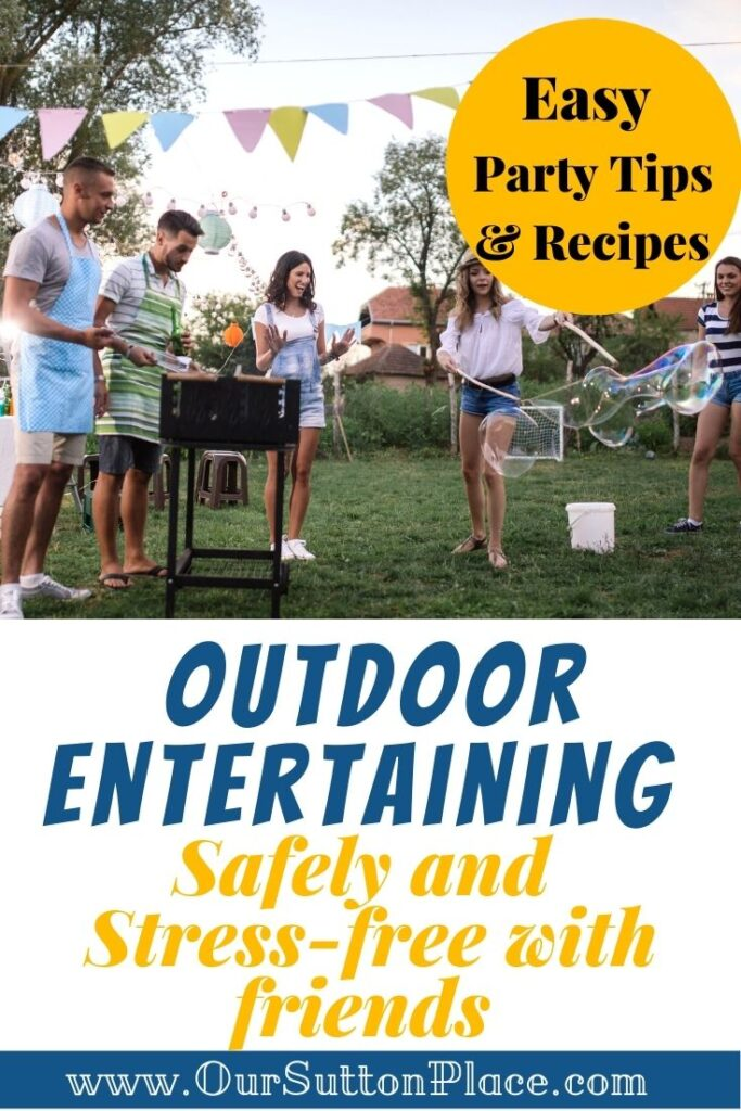 Title card with people having a backyard BBQ