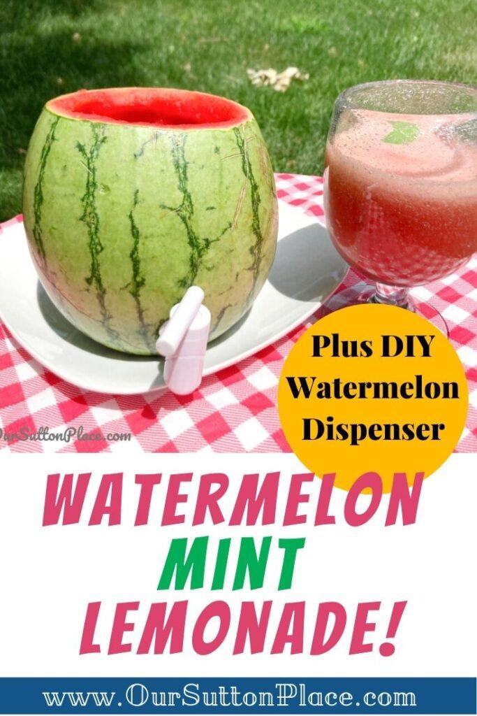 picture of a watermelon dispenser and watermelon mint lemonade