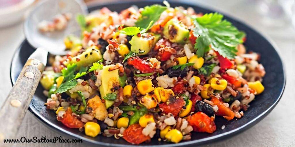 quinoa added to the avocado salad