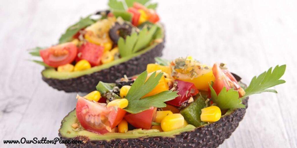 Avocado salad in an avocado boat